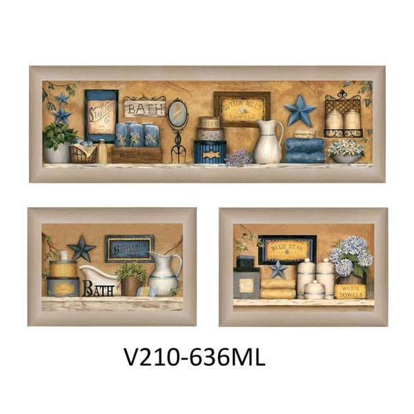 """Bathroom Collection III"" Collection By Carrie Knoff, Printed Wall Art, Ready To Hang Framed Poster, Beige Frame"