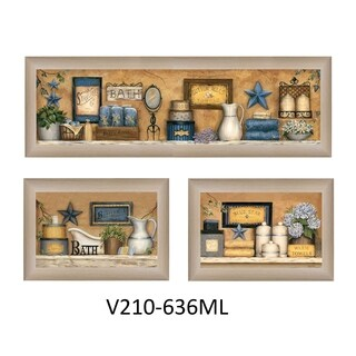 """""""Bathroom Collection III"""" Collection By Carrie Knoff, Printed Wall Art, Ready To Hang Framed Poster, Beige Frame"""