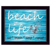 """Beach Life"" By Cindy Jacobs, Printed Wall Art, Ready To Hang Framed Poster, Black Frame"
