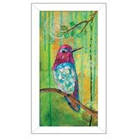 """Anna's Hummingbird"" By Lisa Morales, Printed Wall Art, Ready To Hang Framed Poster, White Frame"