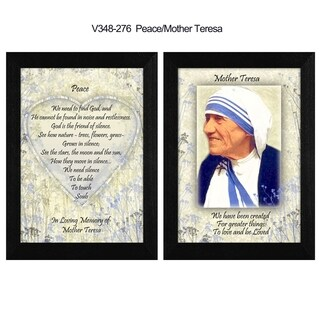 """""""Peace"""" Quotes by Mother Teresa Collection, Printed Wall Art, Ready To Hang Framed Poster, Black Frame"""