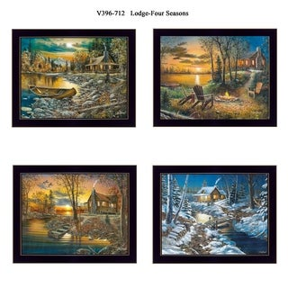 """Lodge - Four Seasons"" Collection By Jim Hansen, Printed Wall Art, Ready To Hang Framed Poster, Black Frame"