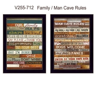 """Family and Man Cave Rules"" Collection By Marla Rae, Printed Wall Art, Ready To Hang Framed Poster, Black Frame"