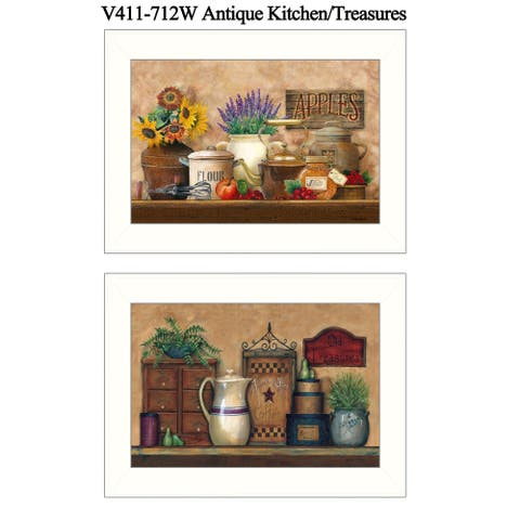 """""""Antique Kitchen/Treasures"""" Collection By Ed Wargo, Ready to Hang Framed Wall Art, White Frame"""
