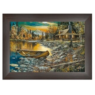 """High Country Retreat"" By Jim Hansen, Printed Wall Art, Ready To Hang Framed Poster, Brown Frame"