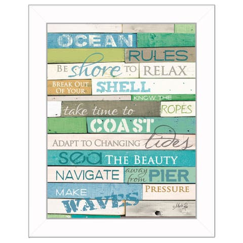 """Ocean Rules"" By Marla Rae, Printed Wall Art, Ready To Hang Framed Poster, White Frame"