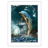 """Jumping Dolphin II"" By Tim Dardis, Printed Wall Art, Ready To Hang Framed Poster, White Frame"