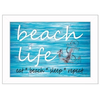 """Beach Life"" By Cindy Jacobs, Printed Wall Art, Ready To Hang Framed Poster, White Frame"