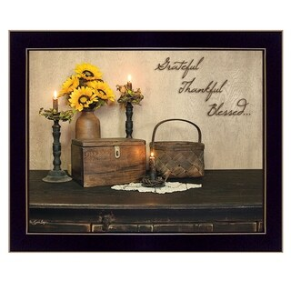 """""""Grateful, Thankful, Blessed"""" By Susan Boyer, Printed Wall Art, Ready To Hang Framed Poster, Black Frame"""