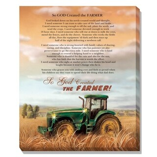 """God Created a Farmer"" LED Light Canvas By Trendy Decor4U, Printed Wall Art, Ready To Hang"