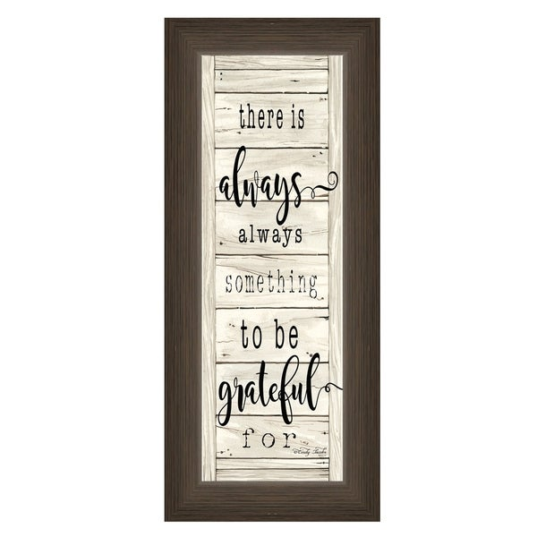 """""""Be Grateful"""" By Cindy Jacobs, Printed Wall Art, Ready To Hang Framed Poster, Brown Frame"""