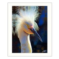 """Backlit Egret"" By Tim Dardis, Printed Wall Art, Ready To Hang Framed Poster, White Frame"