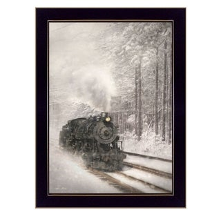 """""""Snowy Locomotive"""" By Lori Deiter, Printed Wall Art, Ready To Hang Framed Poster, Black Frame"""