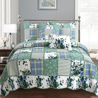 Wakefield Country Floral Patchwork Cotton Quilt Set (3 options available)