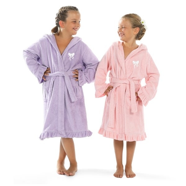 Sweet Kids Ruffled Turkish Cotton Hooded Terry Bathrobe with Embroidered White Bow. Opens flyout.