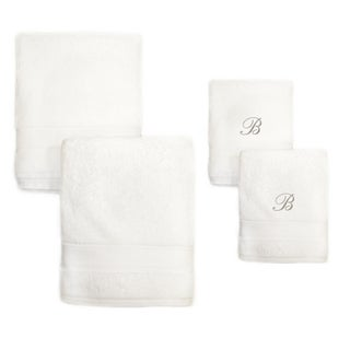 Authentic Hotel and Spa 4-piece White Turkish Cotton Towel Set with Silver Script Monogrammed Initial (As Is Item)|https://ak1.ostkcdn.com/images/products/18221123/P91027753.jpg?_ostk_perf_=percv&impolicy=medium