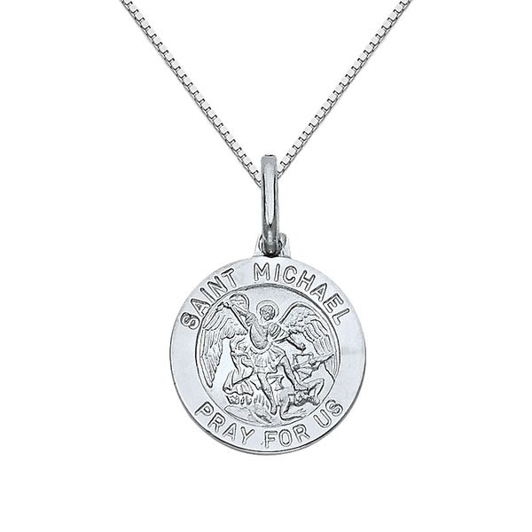 14k white gold saint michael medallion and box chain necklace free 14k white gold saint michael medallion and box chain necklace aloadofball Choice Image