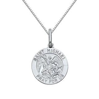 14k White Gold Saint Michael Medallion and Box Chain Necklace