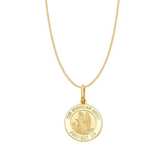 14k Yellow Gold Our Guardian Angel Medallion and Curb Chain Necklace