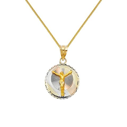 14k Tri-tone Gold Diamond-cut Crucifix Pendant and Wheat Chain Necklace