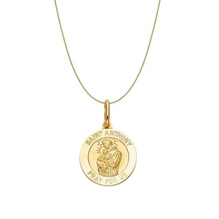 14k Yellow Gold Saint Anthony Medallion and Wheat Chain Necklace
