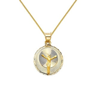 14k Yellow Gold Diamond-cut Crucifix Pendant and Wheat Chain Necklace (4 options available)