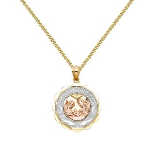 14k Tri-tone Gold Spanish Mi Bautizo Baptism Pendant and Wheat Chain Necklace (5 options available)