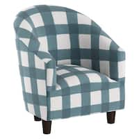 Skyline Furniture Kid's Chair in Buffalo Square Icy Blue