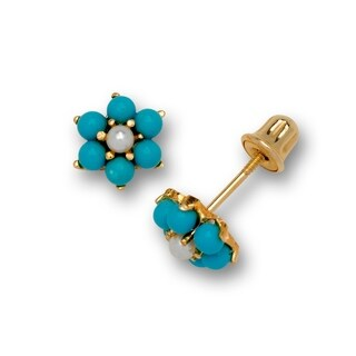 14k Yellow Gold Small Created Turquoise and Pearl Flower Stud Screw-back Earrings (6mm) - Blue