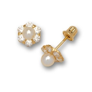 14k Yellow Gold Small Freshwater Cultured Pearl and Cubic Zirconia Flower Stud Screw-back Earrings (6mm) - Orange