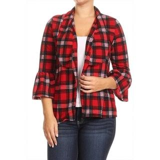 Women's Plus Size Plaid Pattern Jacket