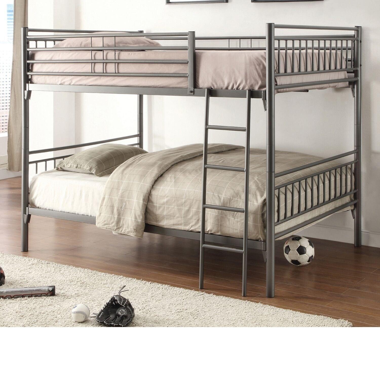 Home Source Bedroom Furniture Grey Metal Full/Full Bunk Bed