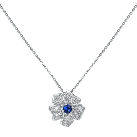 1/4 carat Blue Sapphire and Diamonds Flower Necklace in 10K White Gold