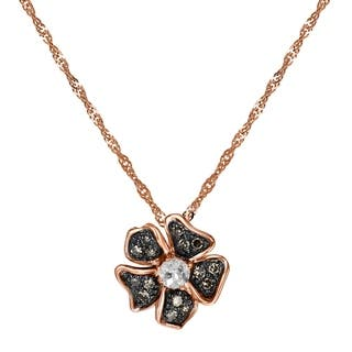 1/4 carat Morganite and Brown Diamonds Flower Necklace in 10K Rose Gold|https://ak1.ostkcdn.com/images/products/18221460/P24362902.jpg?impolicy=medium