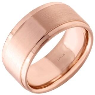 14k Rose Gold Flat Satin Comfort Fit Men's Wedding Bands