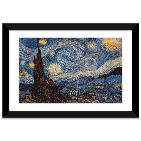 iCanvas The Starry Night by Vincent van Gogh Framed Fine Art Paper Print