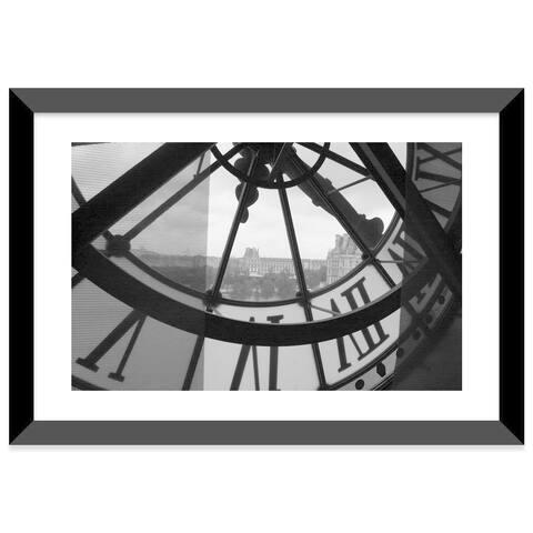 "iCanvas ""Clock Tower In Paris"" Framed Fine Art Paper Print"