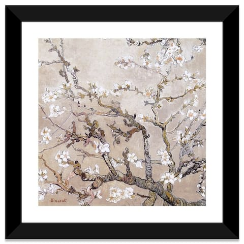 iCanvas Almond Branches In Bloom San Remy, C. 1890 (tan) by Vincent van Gogh Framed Fine Art Paper Print