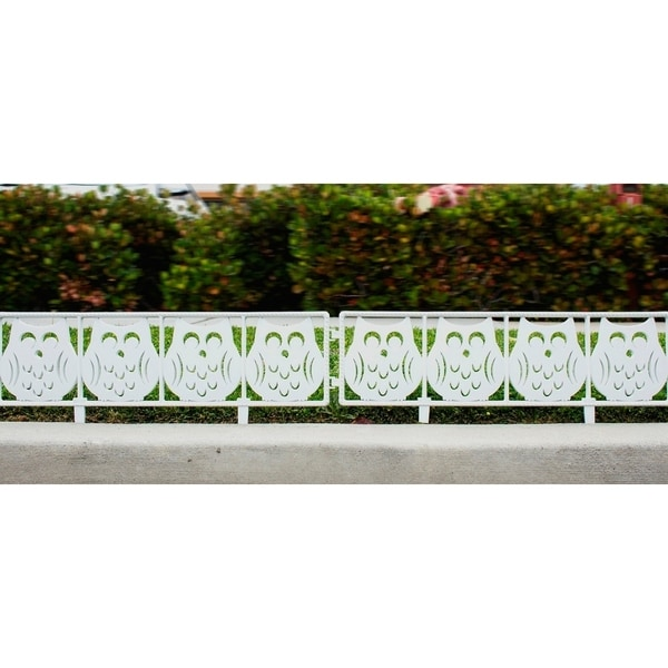Perfect White Owl Garden Fence Panels   7 Ft Yard Decorative Fencing   Panel Fencing