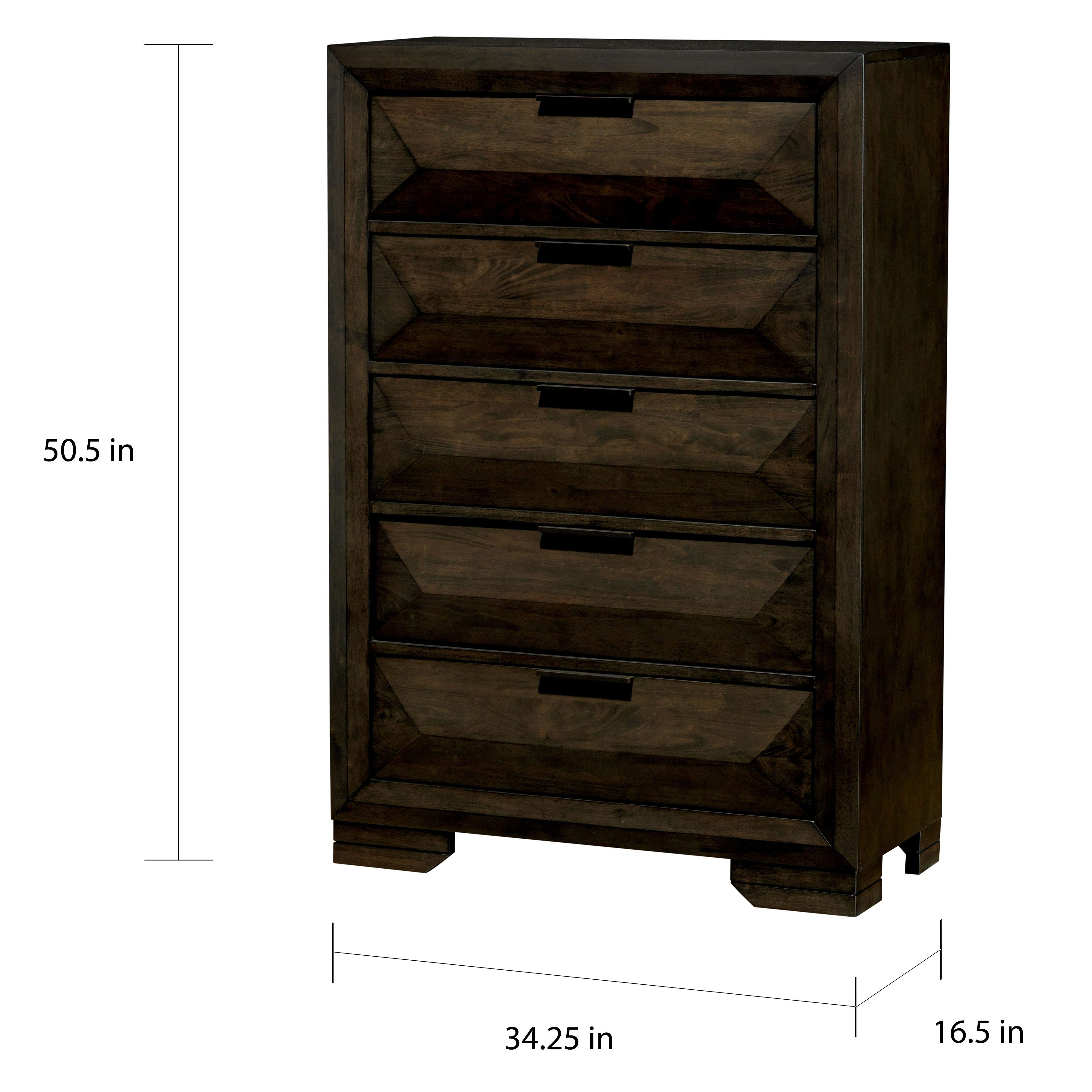 Angled Rustic Espresso 5 Drawer Chest By Foa On Free Shipping Today 18221889