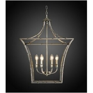 Kenzi Traditional Square Antique Silver Finish Iron Chandelier