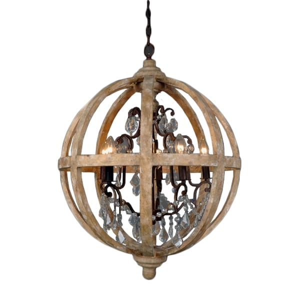 Guinevere Round Antique Brass And White Wood Candle Style Chandelier Rust