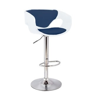 Merlyn Mid Century Modern Low Back Upholstered Bar Stool in Chrome, White, and Blue