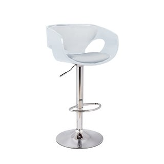 Merlyn Mid Century Modern Low Back Upholstered Bar Stool in Chrome, White, and Silver