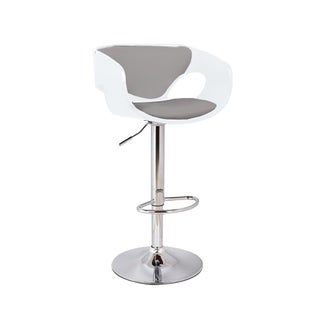Merlyn Mid Century Modern Low Back Upholstered Bar Stool in Chrome, White, and Grey