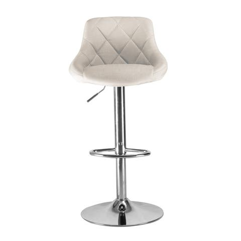 Darien Industrial High Back Upholstered Bar Stool in Chrome and White