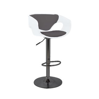 Merlyn Mid Century Modern Low Back Upholstered Bar Stool in Black Chrome, White, and Grey