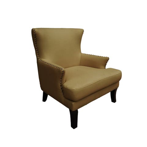 Bethany Mid Century Modern Upholstered Wingback Accent Chair in Butter Rum