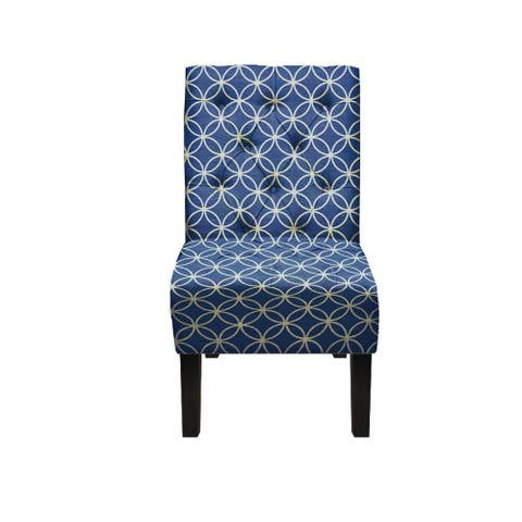 Penelope Contemporary Upholstered Armless Accent Chair In Geometric Navy/White Patern