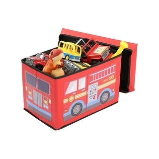 Fire Truck Toy Chest Bench - Children's Ottoman With Storage - Soft Toy Storage